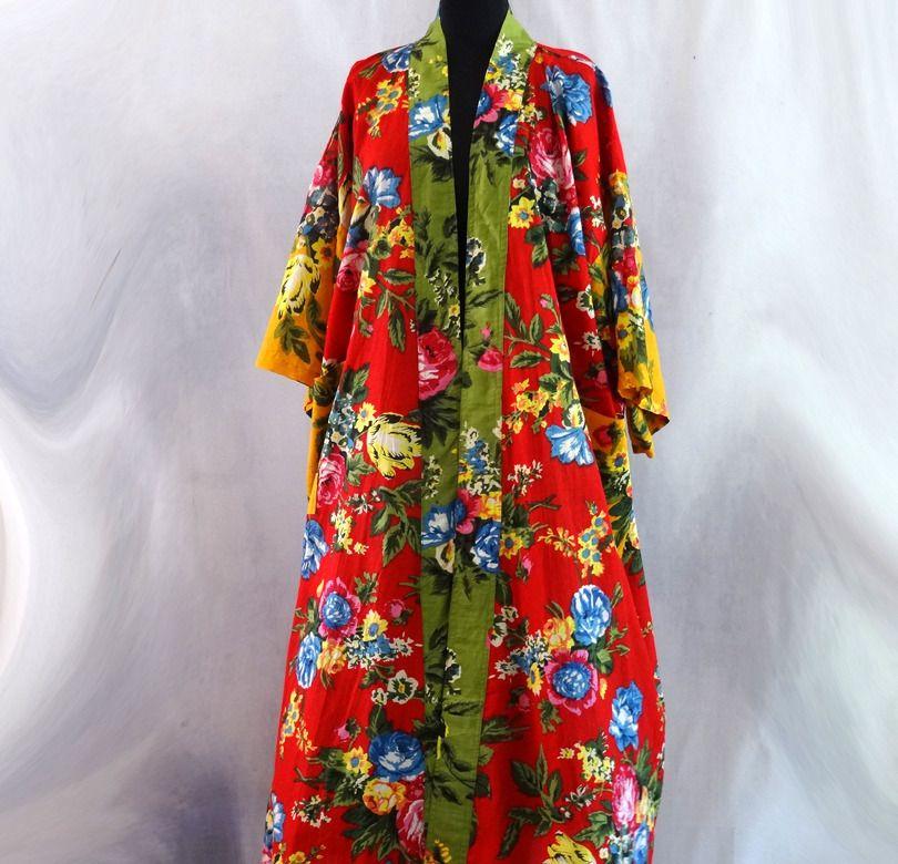 kimono, robe de chambre rouge, vert et jaune à fleurs en coton ...