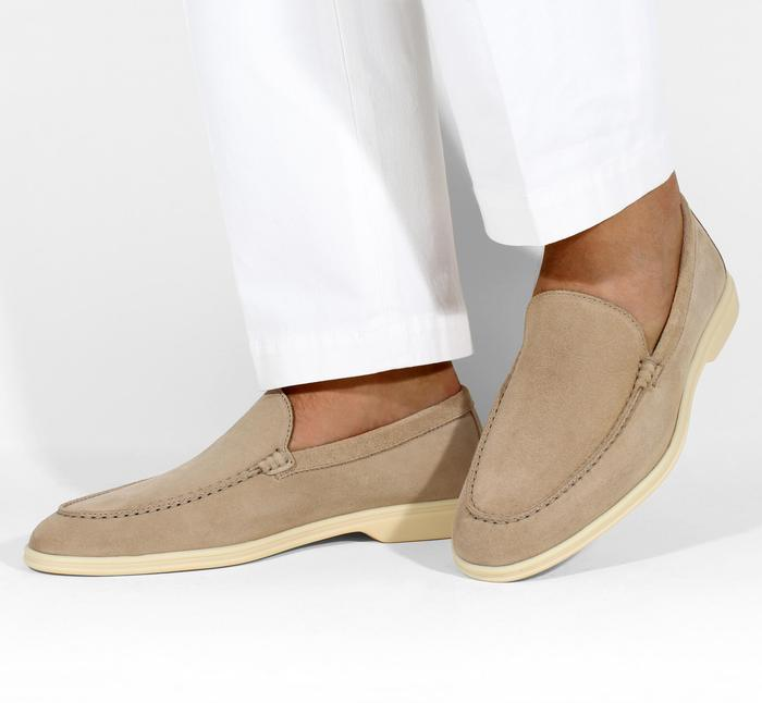 Beige Suede Yacht Loafer for Men by