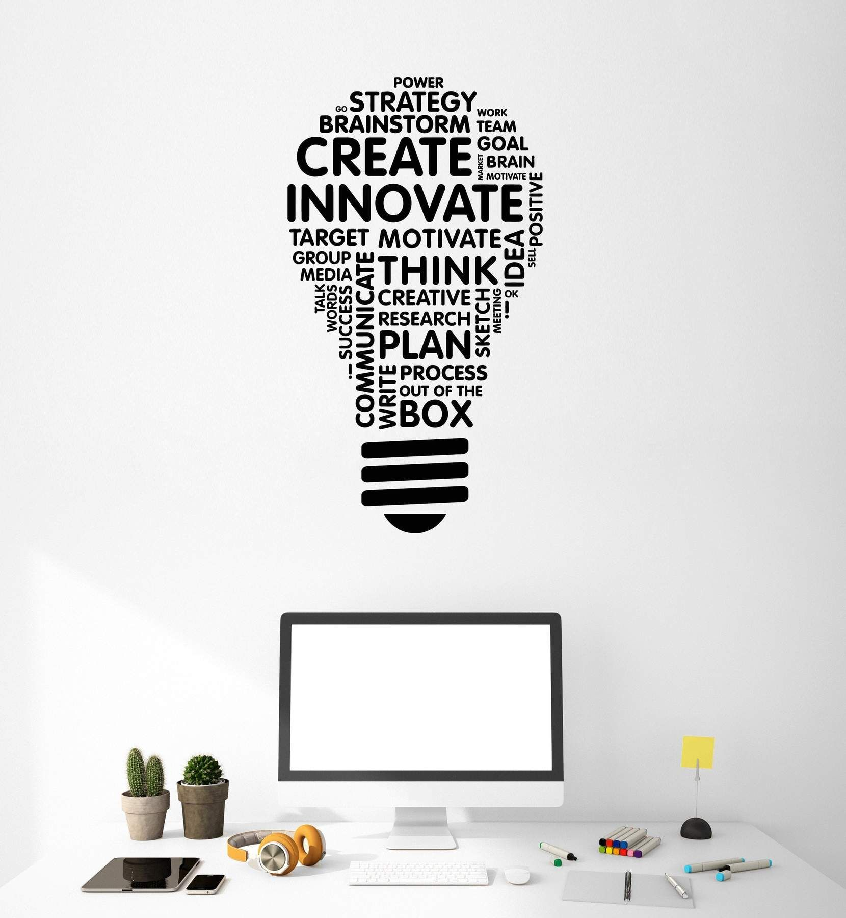 Office Vinyl Wall Decal Light Bulb Inspire Words Business Office