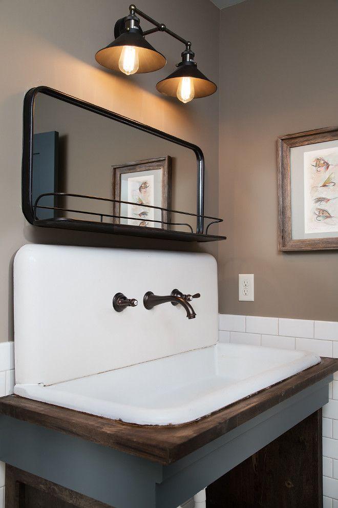Vintage Farmhouse Sink. This farmhouse bathroom features a 42\