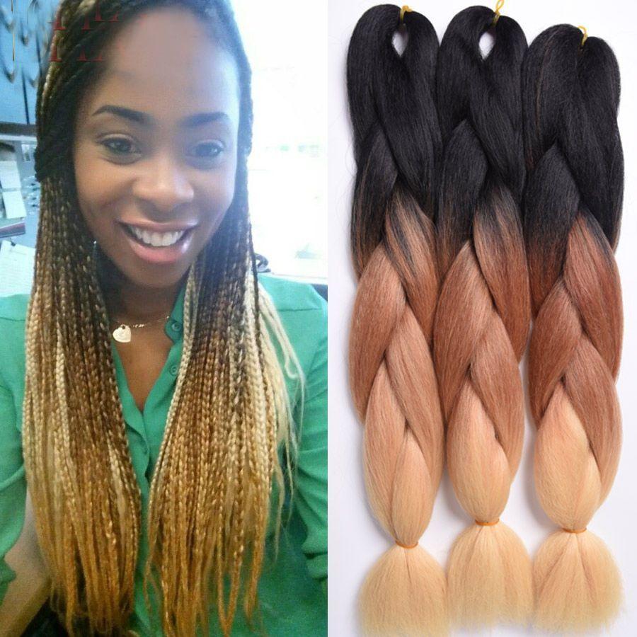 1pack Hot 3 Tone Ombre Braiding Hair 24 Braid Kanekalon Jumbo