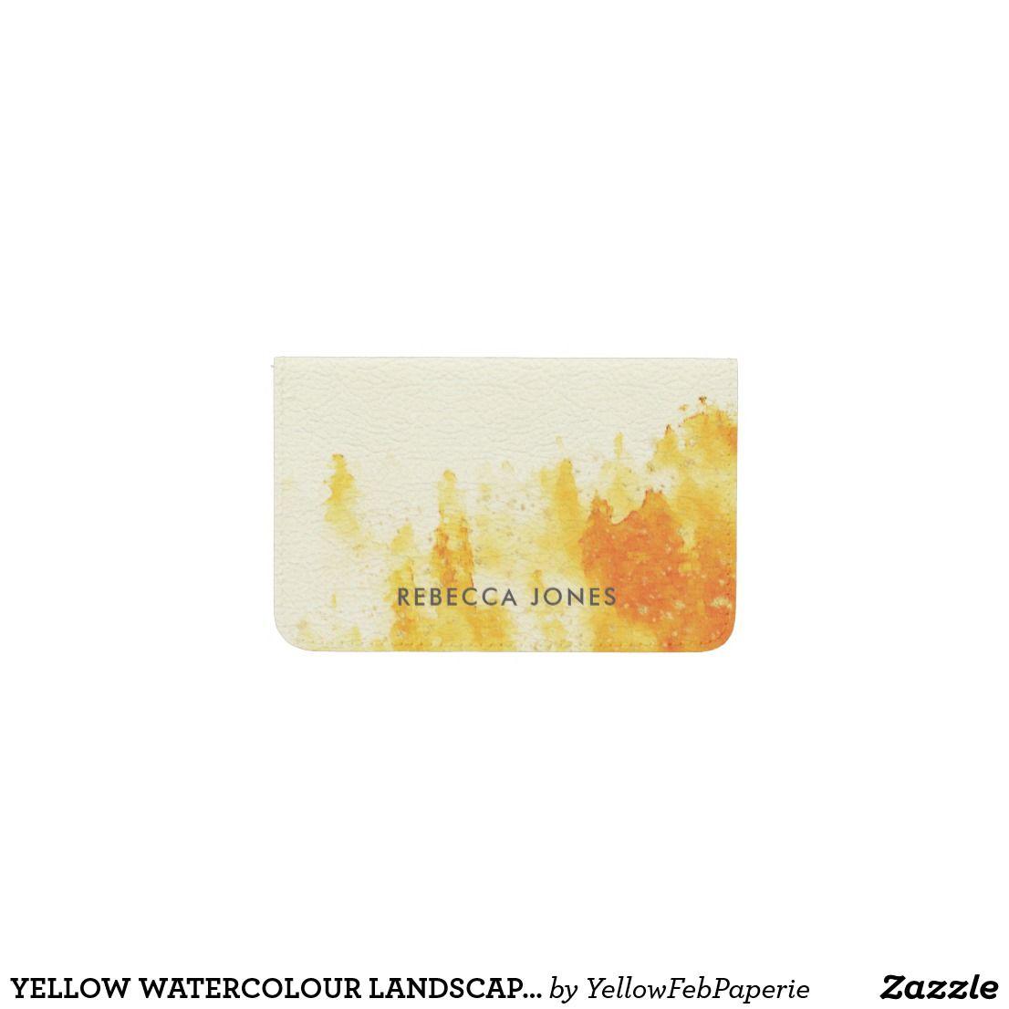 YELLOW WATERCOLOUR LANDSCAPE TREE FOLIAGE MONOGRAM BUSINESS CARD ...