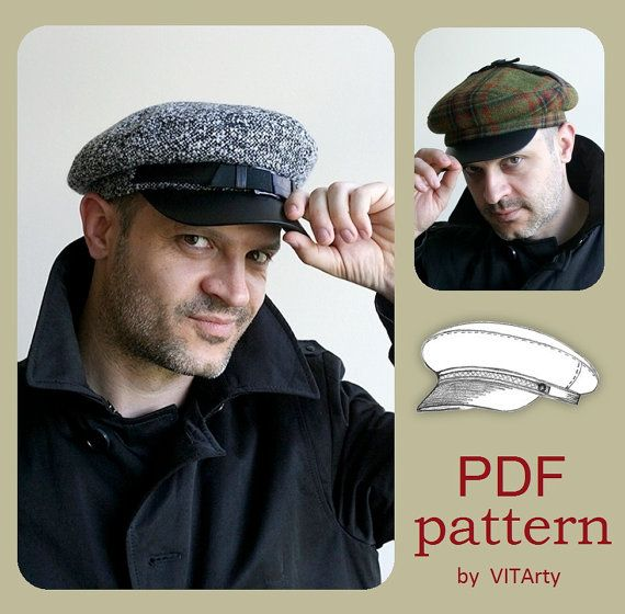 90bfc1ad7ca PDF Sewing Pattern of Unisex Fiddler Hat. Fits great men and women. This  unique design allows to wear this cap in a few different ways  with crown  moved to ...