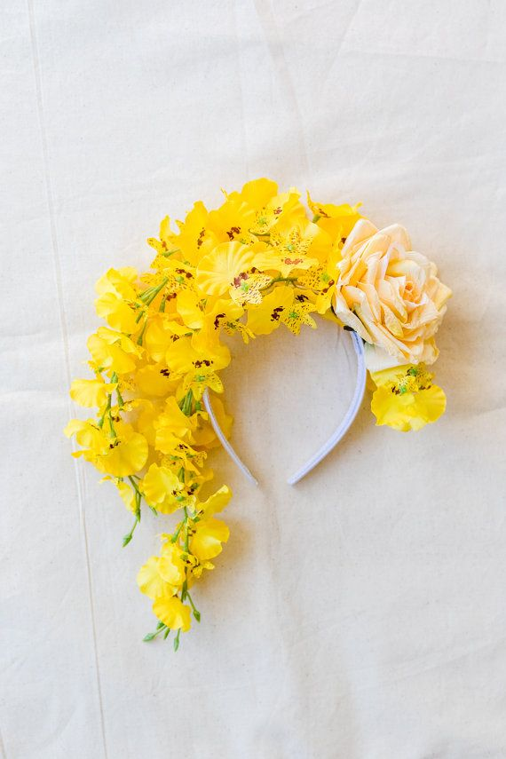 Yellow Flower Crown Spring Racing Fascinator Statement Floral
