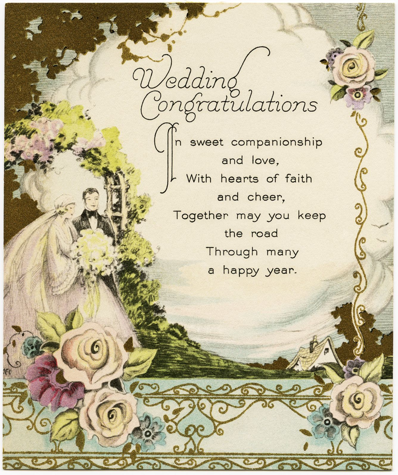 Free printable vintage christmas cards - Old Design Shop Free Printable Vintage Wedding Congratulations Card