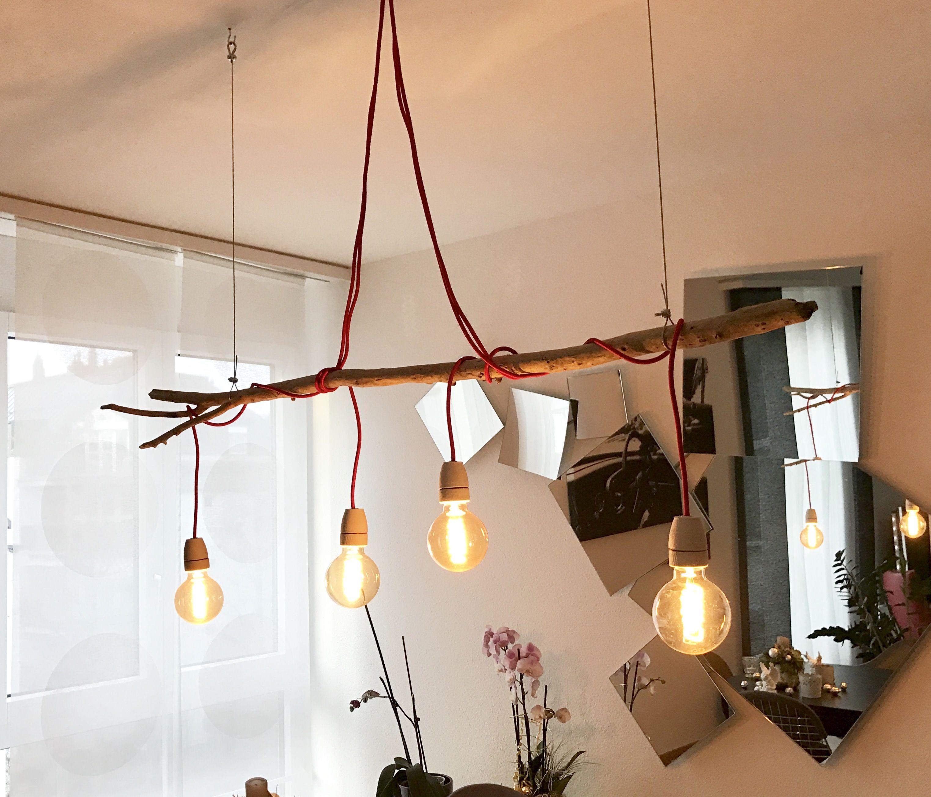 Lampe Selbstgemacht Rote Kabel Betonfassungen Leuchtmittel Und Draht Aus Dem Bauhaus Holz Ist Schwemmh Cheap Furniture Stores Ceiling Lights Furniture Sale