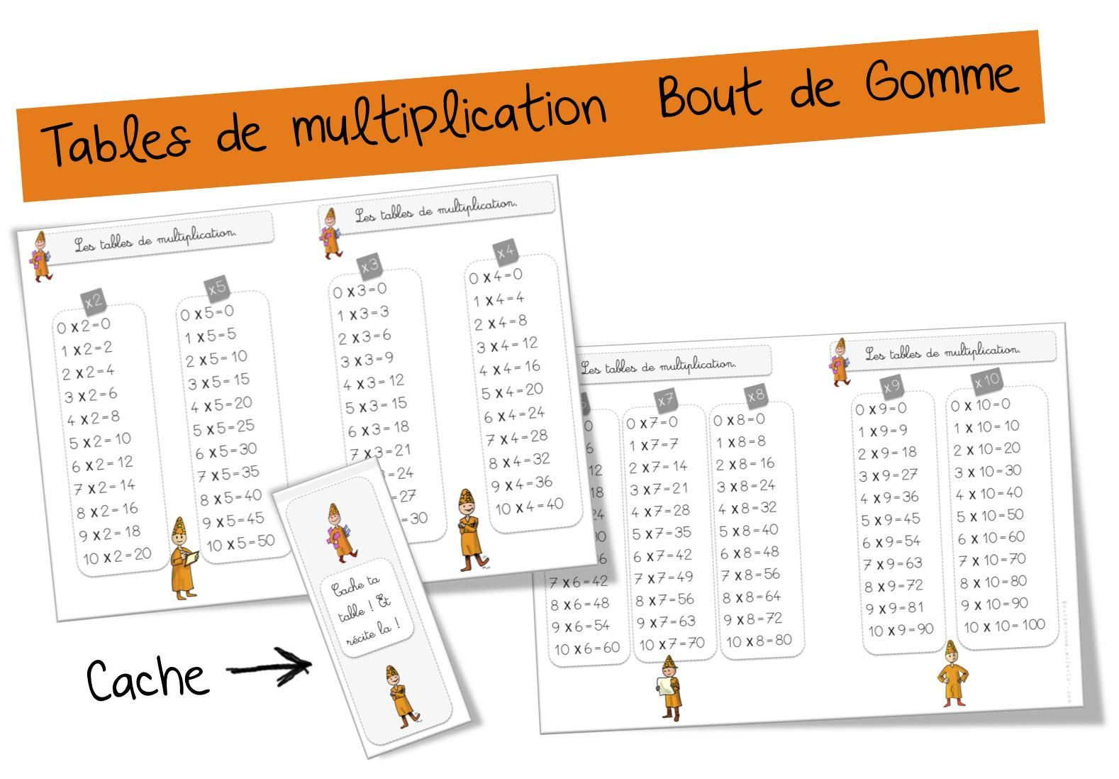 Tables de multiplication bout de gomme ce cm cycle 2 for Table de multiplication de 2 a 5