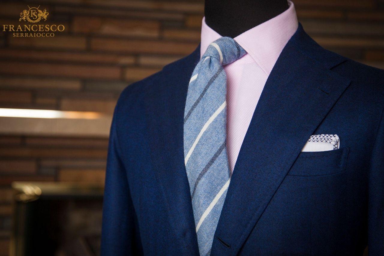 Pink dress shirt blue suit  navy wool jacket light pink oxford gray striped tie white pocket