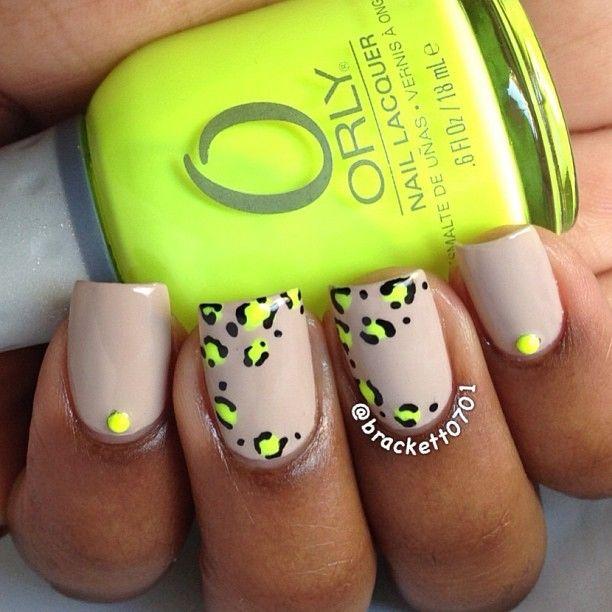 brackett0701 - neon and nude leopard mani | uñitas | Pinterest | Uña ...