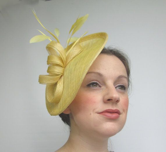 Yellow Fascinator Hat Yellow Hat Races Hat by LillibetsMillinery ... 6081e642088