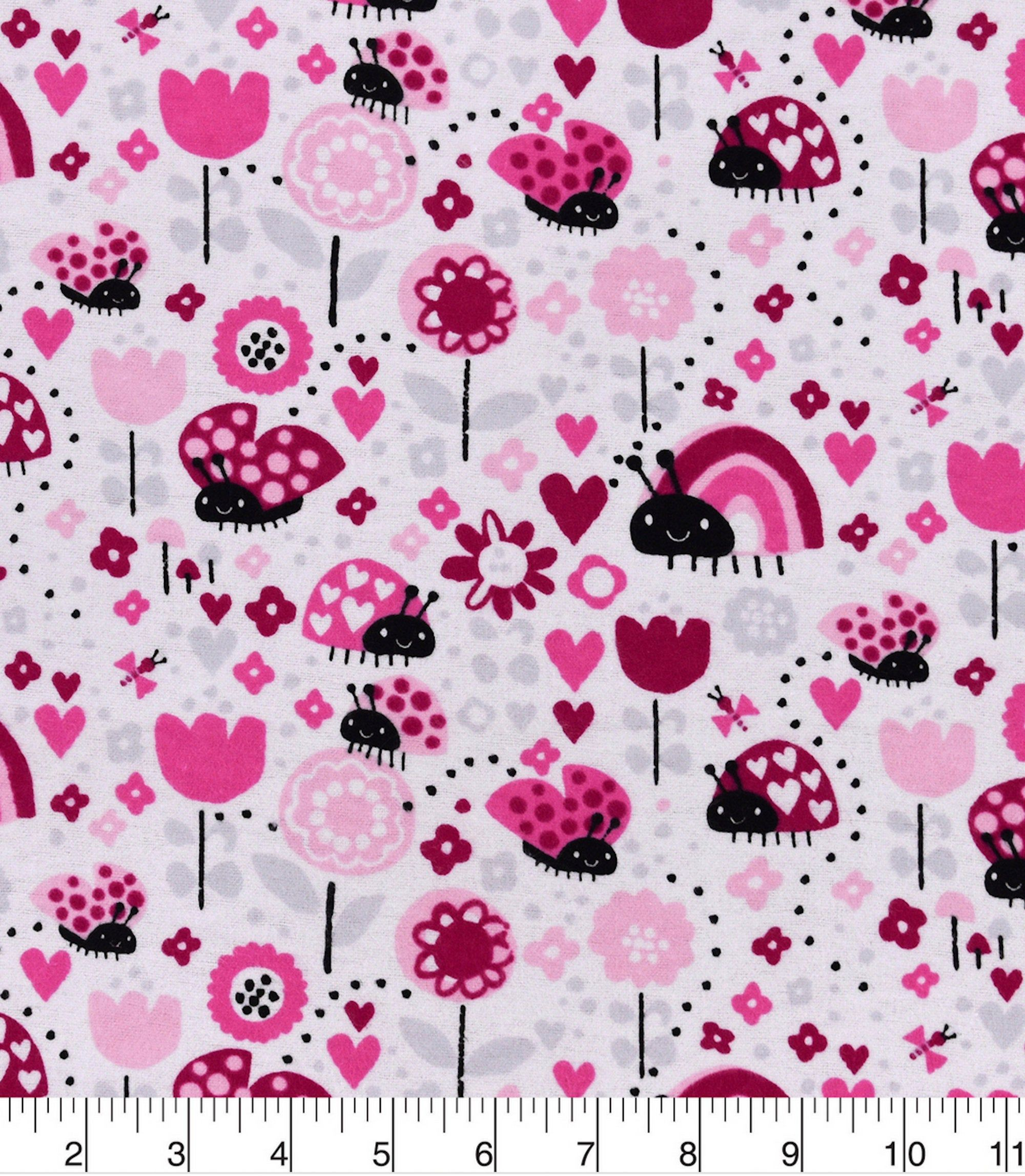 Ladybugs And Hearts Fabric By The Yard 100 Cotton Flannel Fabric Only Cotton Flannel Fabric Custom Items