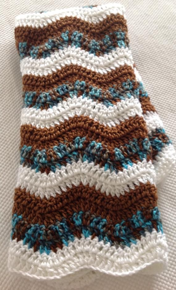 Blue waves Afghan crochet blanket soft and cozy.