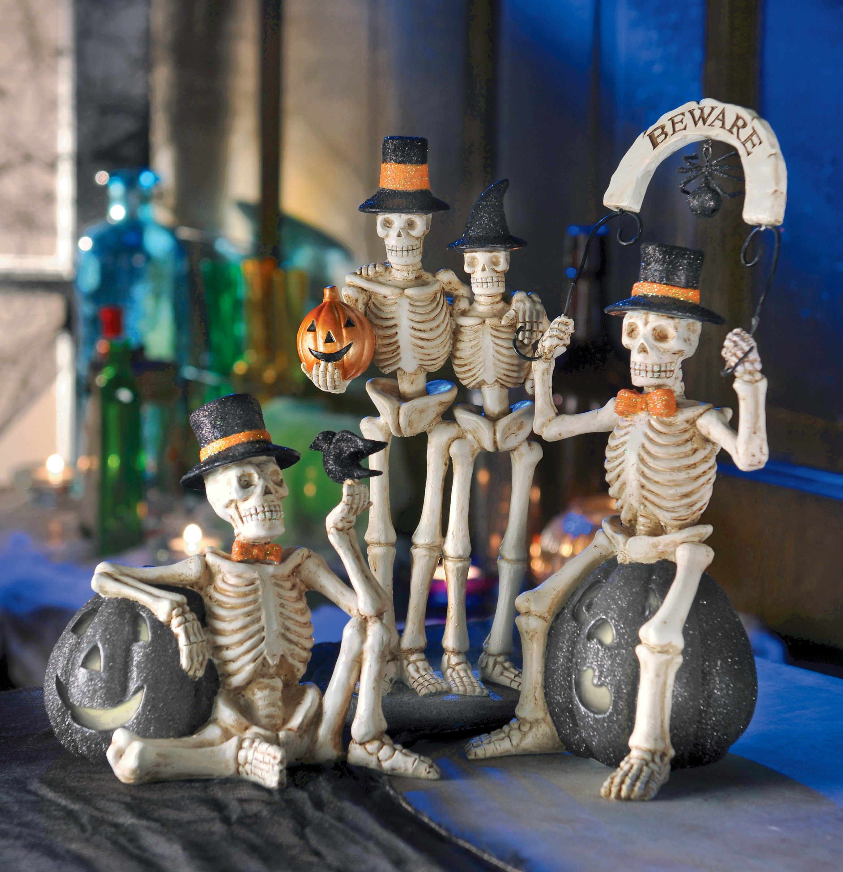 Create A Spooky Atmosphere! Skeleton With Bird And