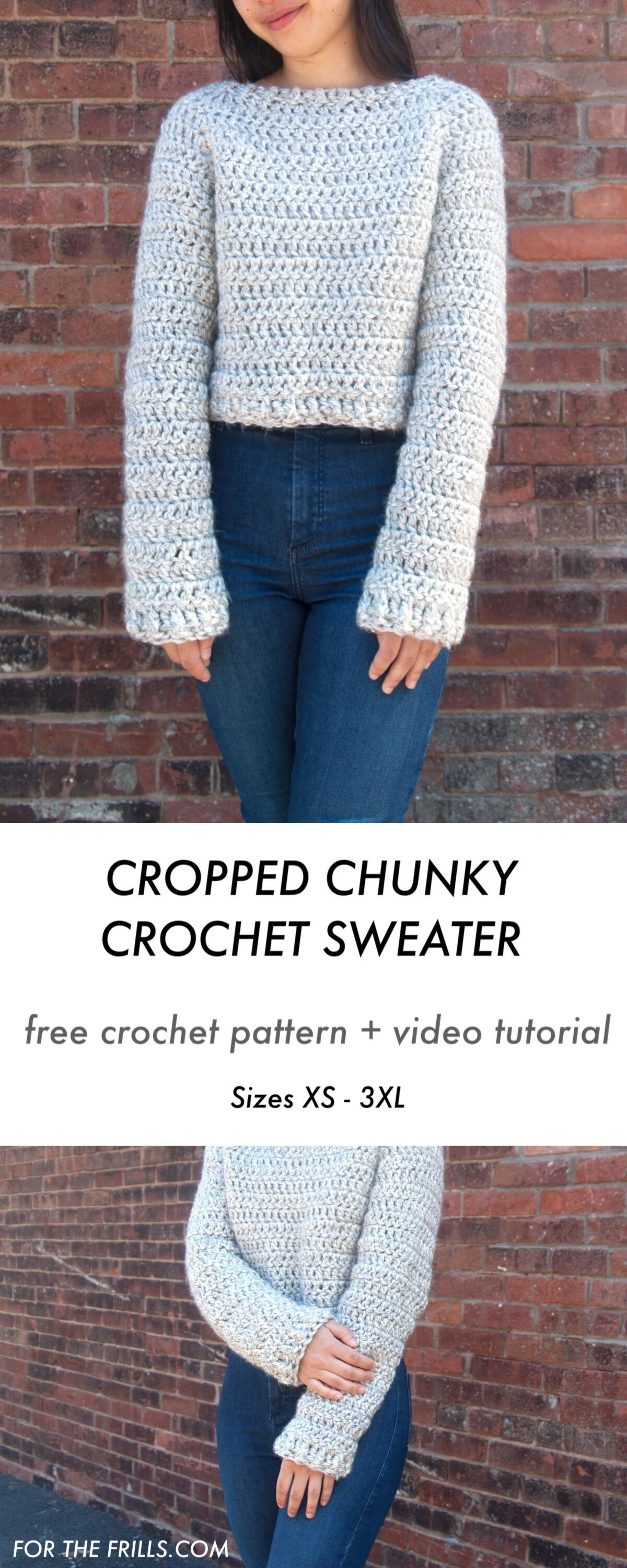 Chunky Cropped Crochet Sweater – free pattern and video tutorial for the frills