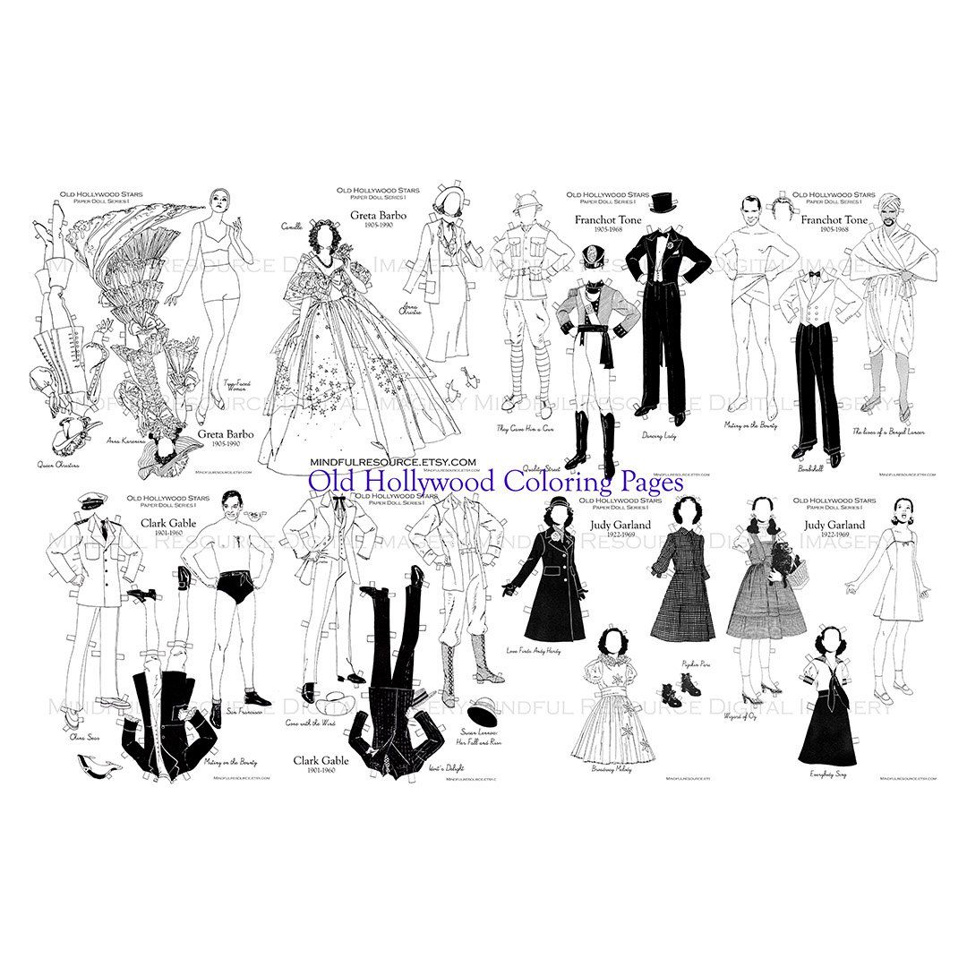 old hollywood stars coloring pages printable vintage paper dolls