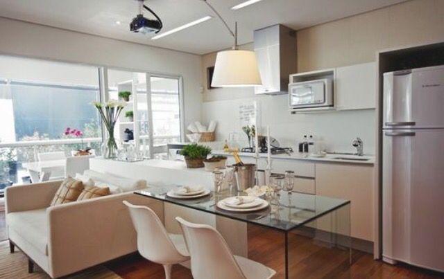 Mesa Embutida Na Cozinha Americana Cozinha Planejada Pequena