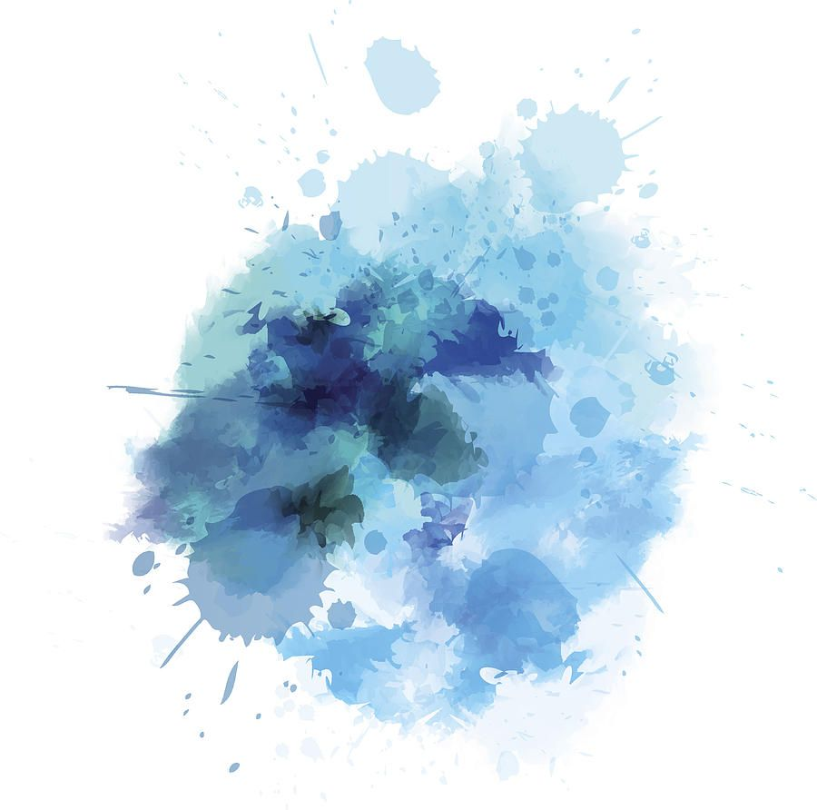 Blue Watercolored Blot Drawing By Artlana Akvarelnyj Fon In