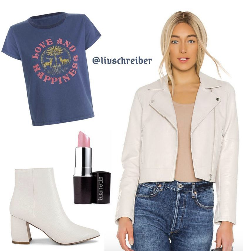 Pair with black jeans and BOOM! #nyc #trendy #ootd #leather #jacket #graphictee #boots #fashion #style #fashiontrend #styleinspo #styleinfluencer #influencer #cool #love #happiness #fashionactivation #leatherjacket #denim #jeans #booties #revolve #liketoknowit