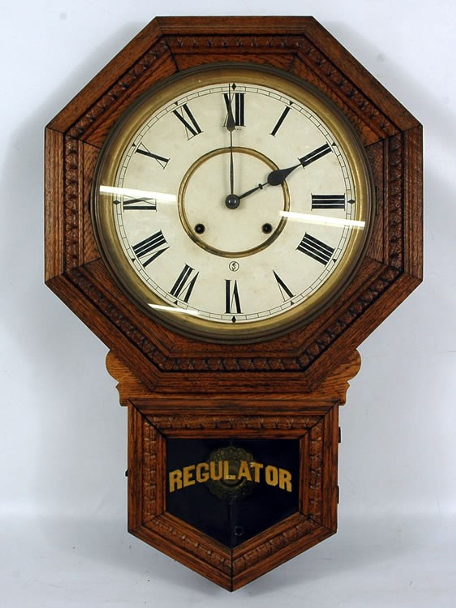 131 Sessions Oak Schoolhouse Regulator Wall Clock May 7
