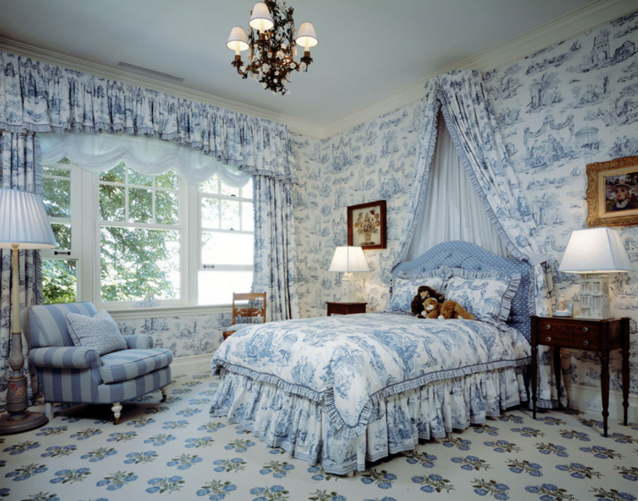 toile de jouy toiles toile de jouy et d co chambre adulte. Black Bedroom Furniture Sets. Home Design Ideas
