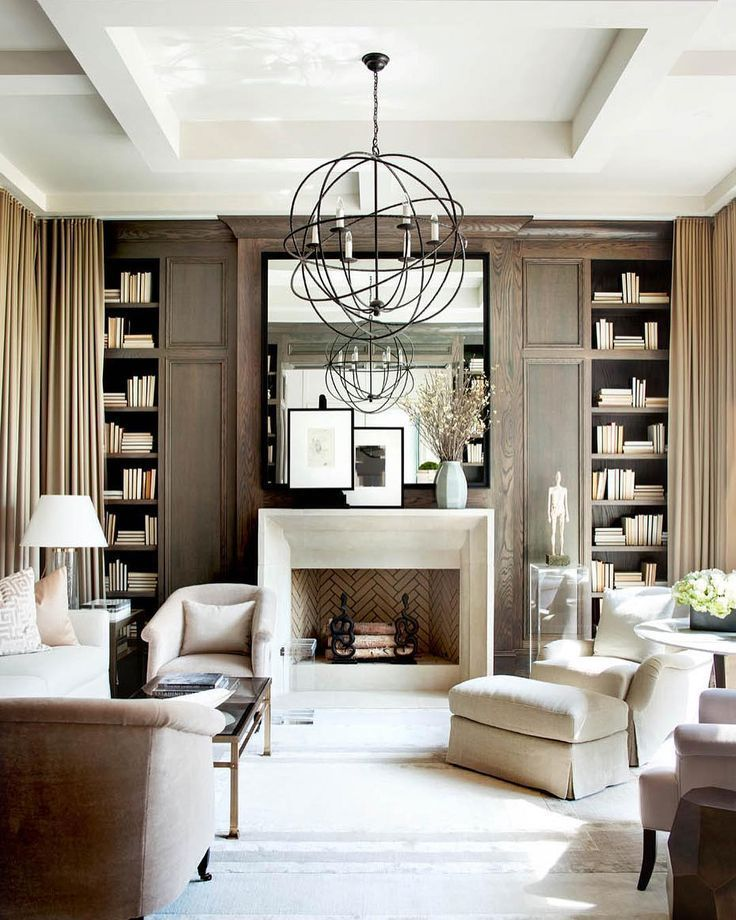 Unique Living Room Ideas: Neutral Living Room With A Unique Chandelier