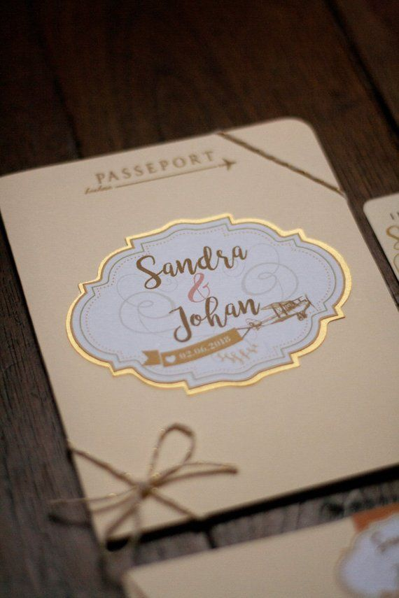 Faire-part de mariage Passeport Voyage Rétro, or et ivoire