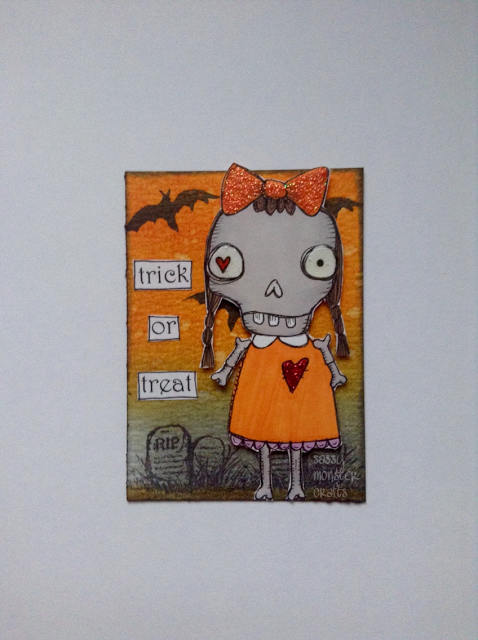 Sassy Monster Crafts: Trick or Treat ATC using the girl skeleton digital stamp from Vera Lane Studio