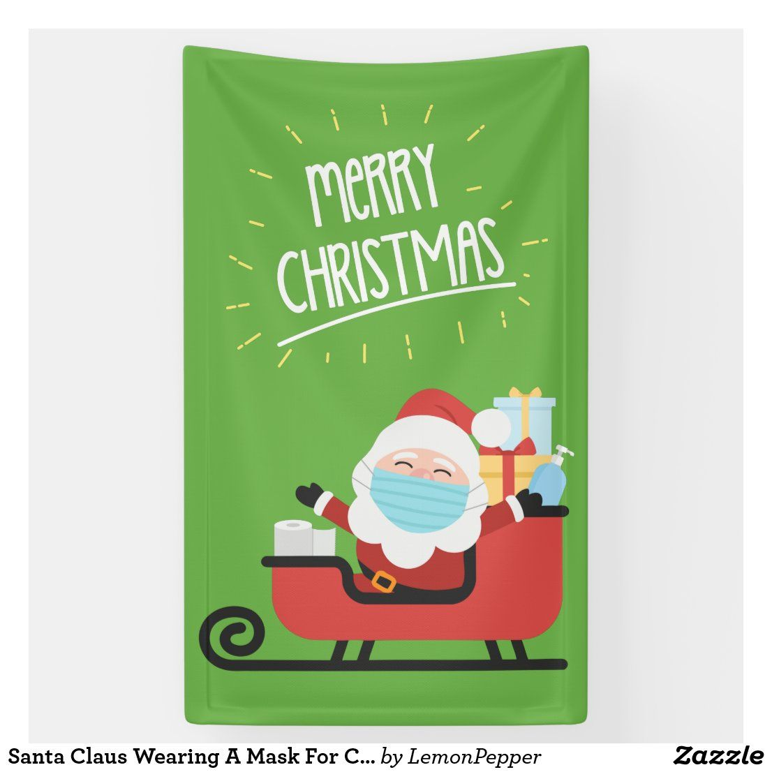 Santa Claus Wearing A Mask For Christmas Banner Zazzle Com Christmas Banners Custom Holiday Card Christmas Stickers