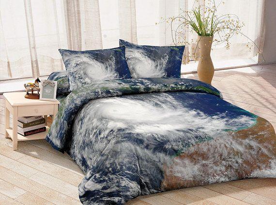 Hurricane Spiral Bedding Set Blue And White Quilt Cover Custom Made