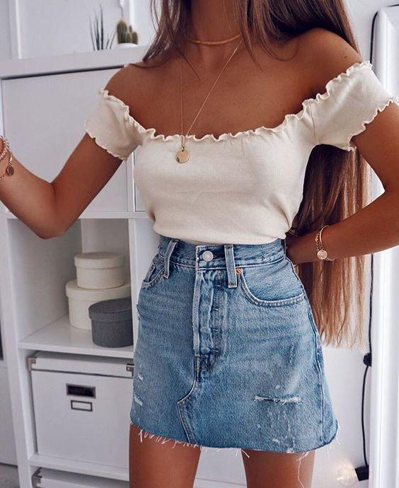 Blake Light Wash TwoTone Denim Mini Skirt  Sommer Outfitsblake
