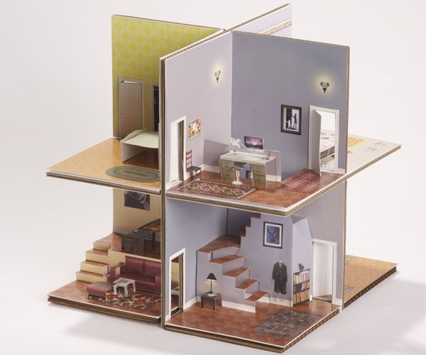 Pop Up Paper House Printable Template Or Boxed Kit Paper House Template Paper Houses Cardboard House