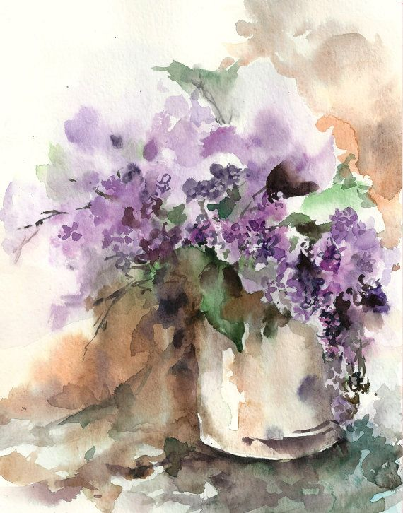 Lilac Flowers Still Life Watercolor Painting Art Print Purple