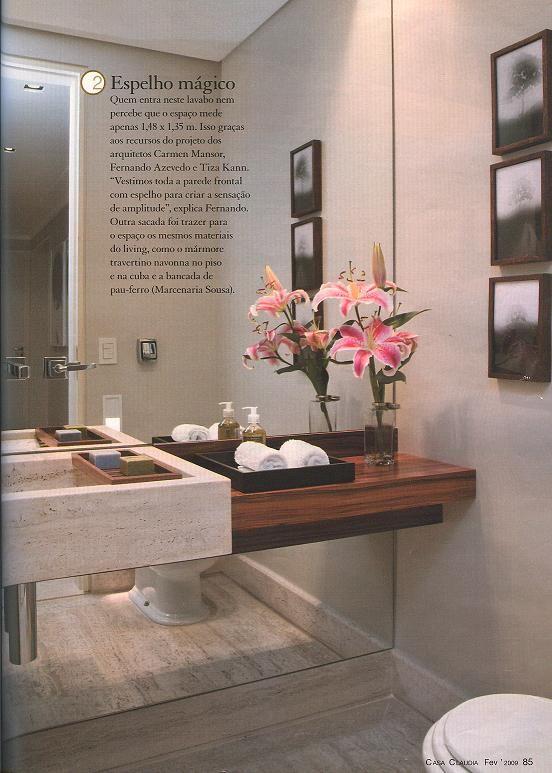 Tamanho De Espelho Banheiro : Cuba moldada com bancada de madeira espelho atr?s parede
