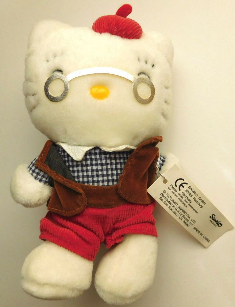 VTG 2000 Sanrio Hello Kitty's Grandpa Grandfather Mini Mascot Plush RARE