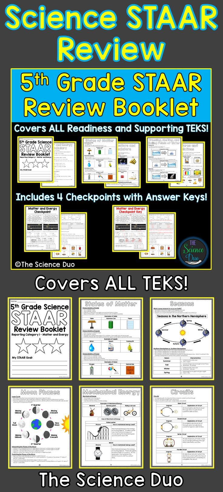 STAAR Science Review Booklet. This resource includes all 4 Reporting  Categories for the 5th Grade