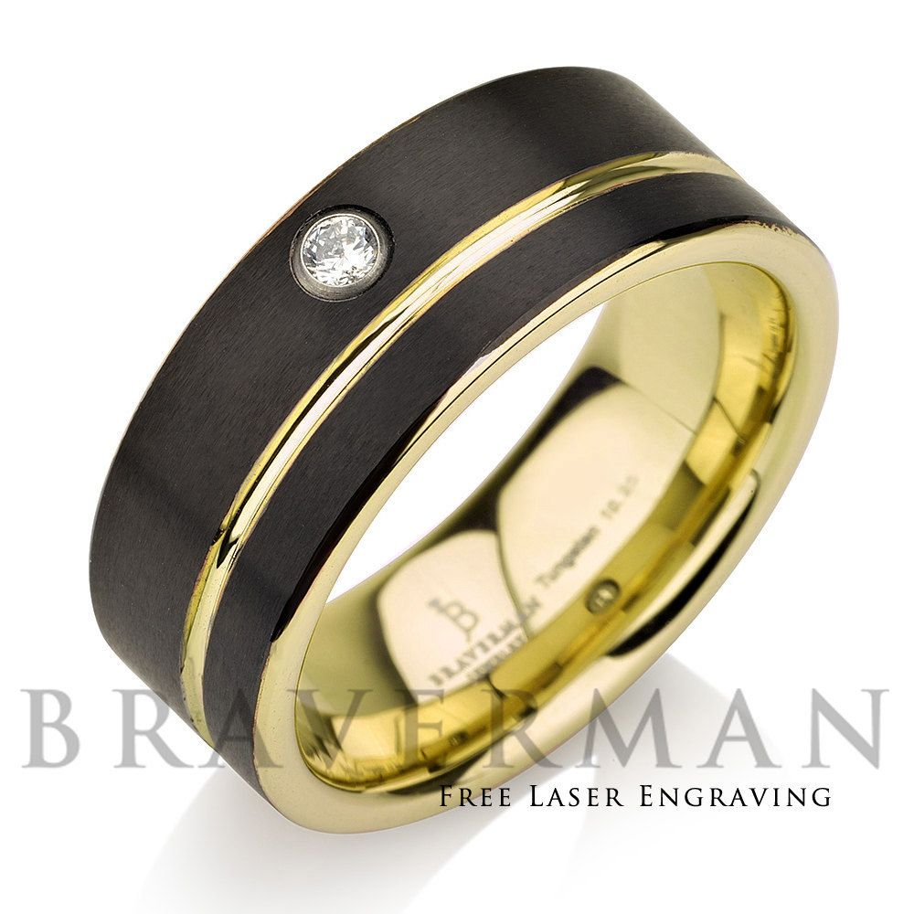Black Tungsten Wedding Band,14k Yellow Gold, White Diamond Mens Wedding  Band, Yellow