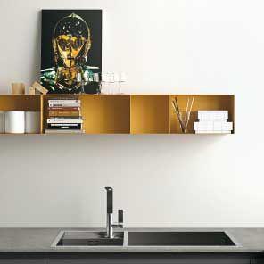 Cucina componibile ante in vetro, Cucina con telaio in alluminio ...