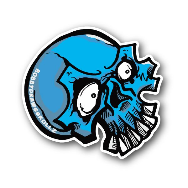 Blue skull sticker vinyl stickers marijuana stickers clear stickers