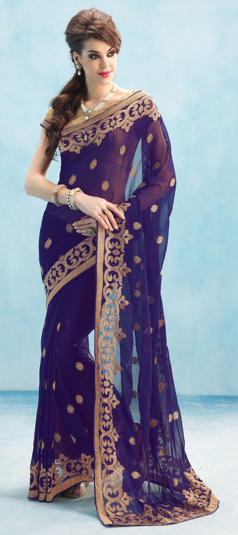 Blue color family Embroidered Sarees, Party Wear Sarees