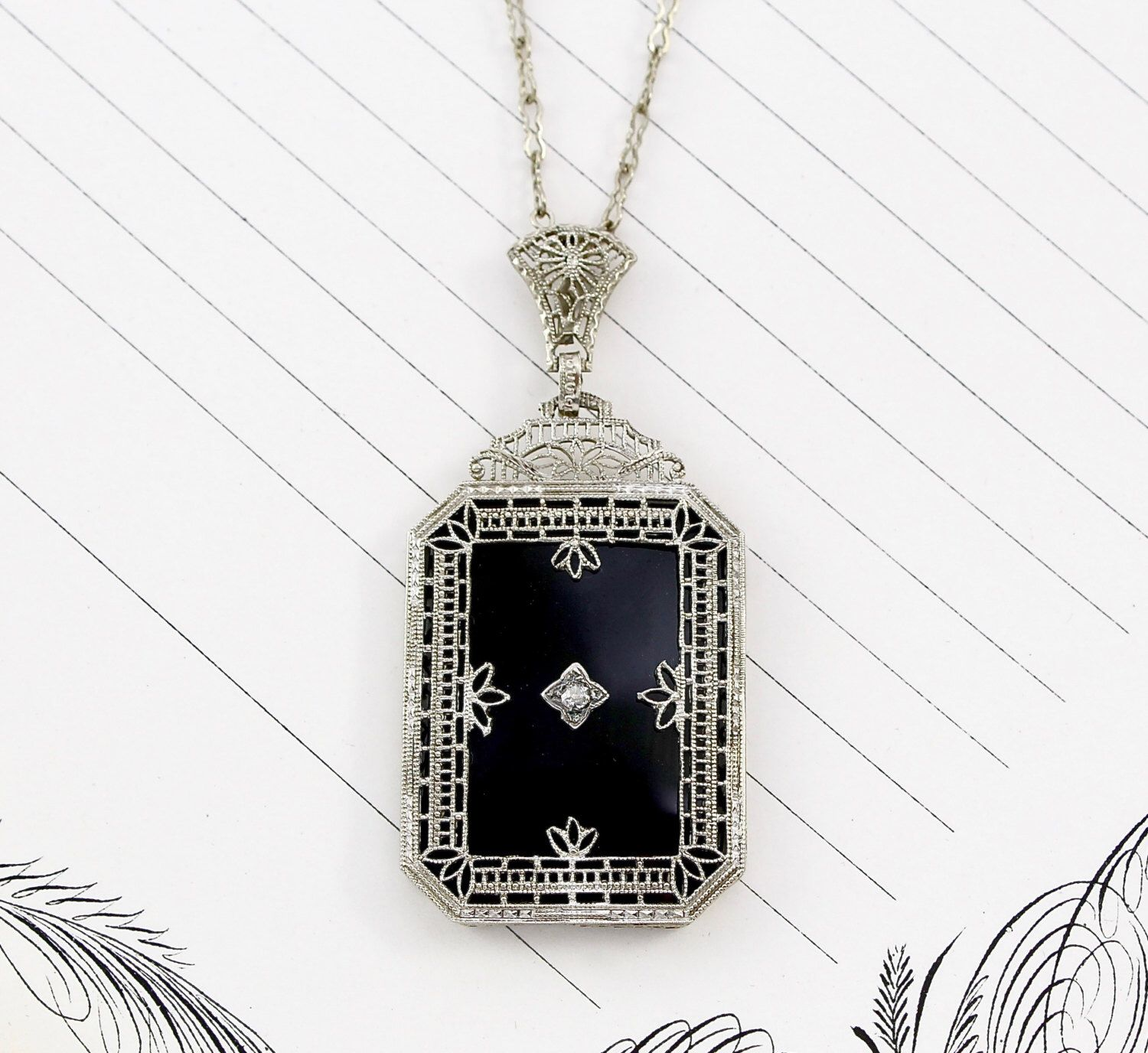 Art Deco 14k Filigree Black Onyx & Diamond Lavaliere Necklace, Antique White Gold, Gothic Bride Bridal Statement Pendant, Holiday Jewelry by TheEdenCollective on Etsy https://www.etsy.com/listing/260814655/art-deco-14k-filigree-black-onyx-diamond