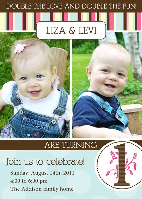 Twins 1st Birthday Invitation You Print By Justmeprints On Etsy 11 00