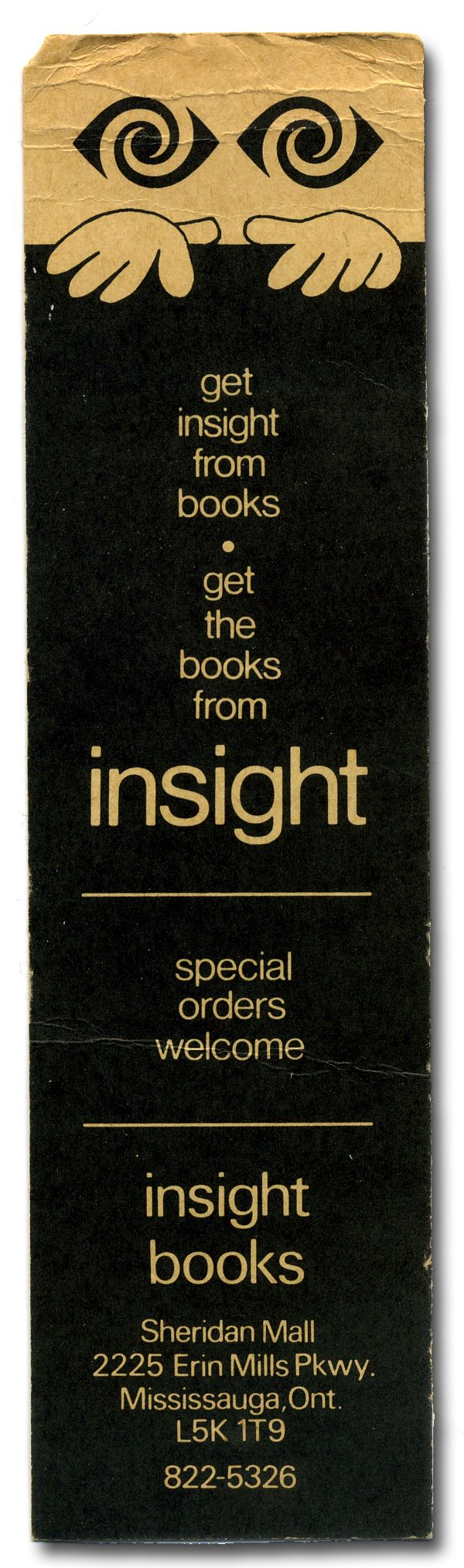 Bookmark from the now defunct Insight Books, Sheridan Mall