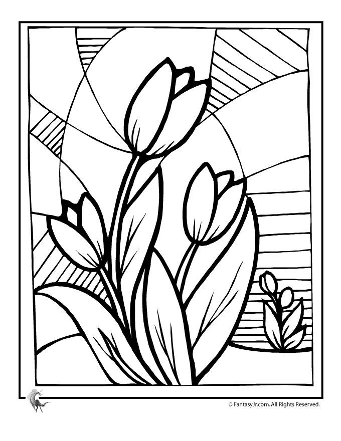 Flower Coloring Pages Spring Flowers Tulip Page Fantasy Jr