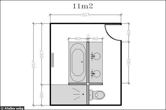 18 plans de salle de bains de 5 à 11 m2  découvrez nos plans - plan de maison en v gratuit