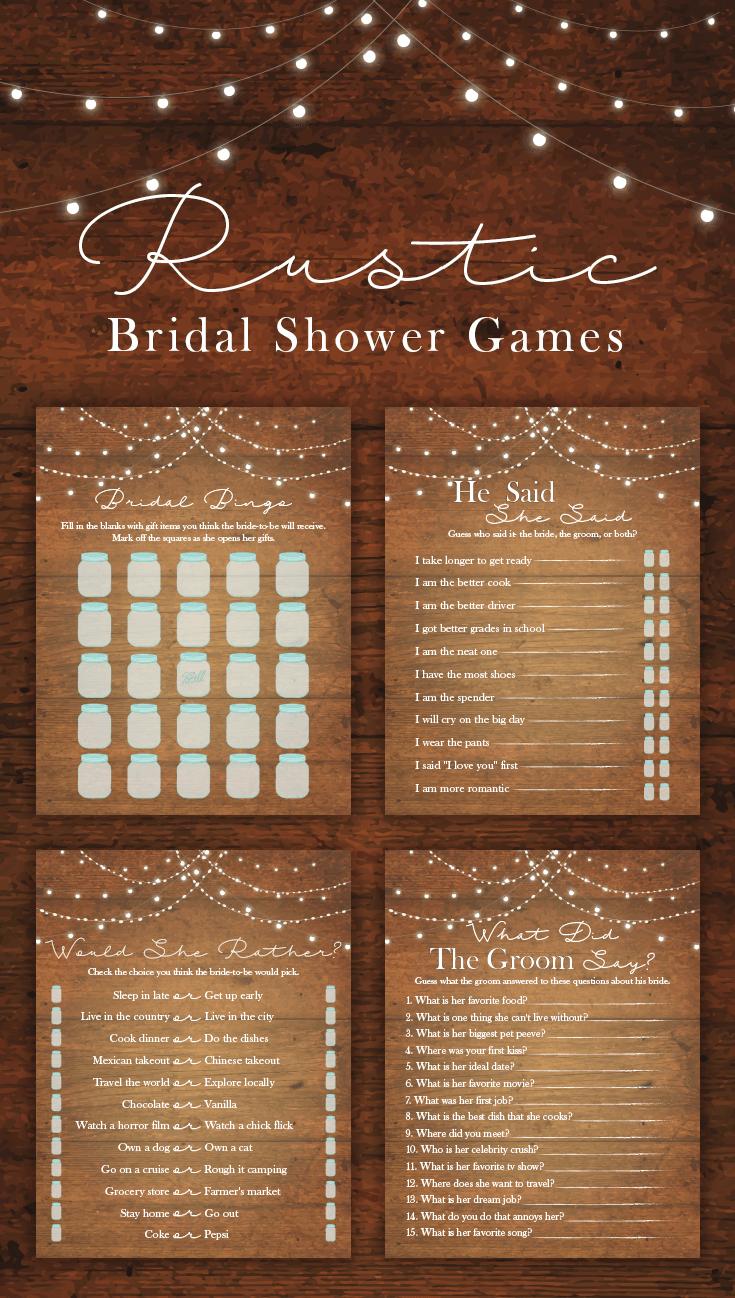 Barn wedding with fairy lights  Rustic Lights Bridal Shower Game Bundle  Bridal Shower Games  Game
