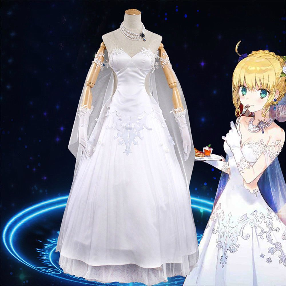 cdf81b8df8 Saber Cosplay FGO Fate/Grand Order Avaron White Day Rose dress ...