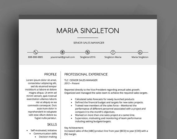 Making A Resume On Word Professional Resume Template  Cv Template  Cover Letter  .