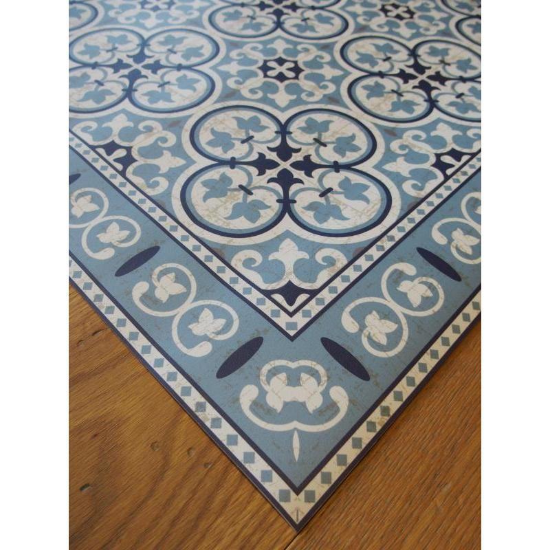tapis vinyle pvc motifs carreaux de ciment bleus vintage id al dans votre cuisine salle de. Black Bedroom Furniture Sets. Home Design Ideas