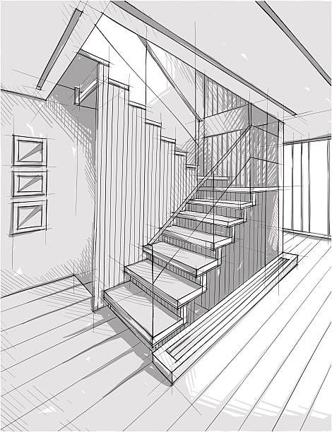Vector illustration of interior design. In the sty