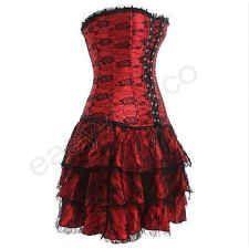 Women's Red Basque Corset Bustier Skirt
